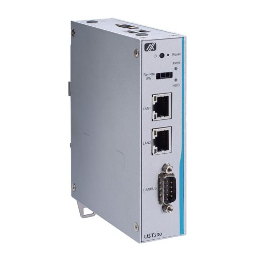 UST200-83H-FL - Robust and Compact DIN-rail Fanless Embedded System with Intel® Atom® x5-E3930 Processor for In-vehicle Gateway Application