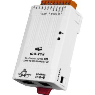 ICPDAS tGW-718 Tiny Modbus/TCP to RTU/ASCII gateway with PoE and 1 RS-232/422/485 Port