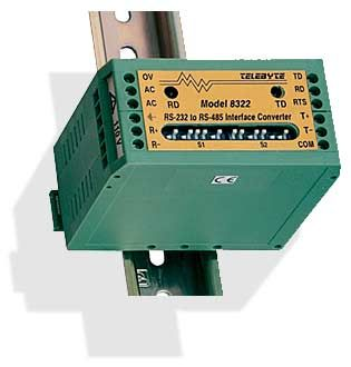 RS-232 to RS-422/RS-485 Optically Isolated, 4 Wire, DIN-Rail Mounted