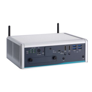 AIE900-902-FL Fanless Edge AI System with NVIDIA® Jetson AGX Xavier™ SoM, 2 HDMI, 2 GbE LAN, 4 GbE PoE, 6 USB, 2 COM or 2 CAN and 8-CH DI/DO