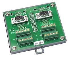 I/O Connector Block with DIN-Rail Mounting and two 9-pin Male Header
