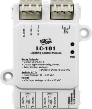 ICPdas LC-101 - 1-channel AC Digital Input and 1-channel Relay Output Lighting Control Module