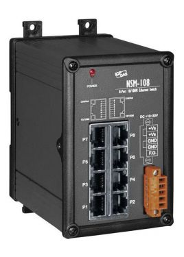 Unmanaged 8-Port Industrial 10/100 Base-TX Ethernet Switch (Front)