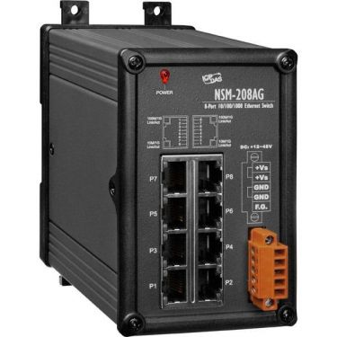 Unmanaged 8-Port Industrial 10/100/1000 Base-T Ethernet Switch With Power Input +12 ~ 48 VDC