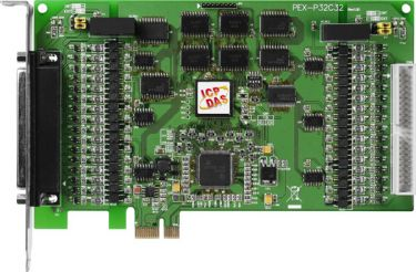 PCI Express, 32-channel Optically Isolated Digital Input and 32-channel Optically Isolated Digital Open-collector output Board.(Current Sinking) (RoHS)Includes one CA-4037B cable and two CA-4002 D-Sub connectors.