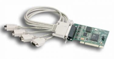 4 port RS-232 UniversalPCI board with DB-9 quadcable with surge suppression