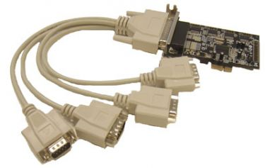 4 port serial RS-232, Low profile PCI Express board with fanout cable to 4 DB9