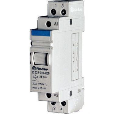 2 Poles, 20 A relay for direct 35 mm rail (EN 50022) mounting