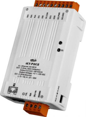 Tiny Ethernet module with 2-channel DI and 2-channel DO (NPN, Sink)