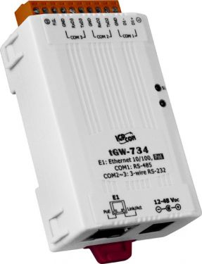 ICPDAS tGW-734 Tiny Modbus/TCP to RTU/ASCII gateway with PoE and 2 RS-232 and 1 485 Ports