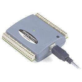 USB-based DAQ device with 8 analog inputs, up to 14-bit resolution, 48 kS/s, 2 analog outputs, and 16 digital I/O lines