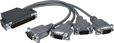 DB-37 Male(D-sub) to 4-Port DB-9 Male(D-sub) cable 0.5m for I-8114W/I-8114iW (90°)