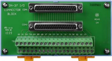 I/O Connector Block (Pitch=3.81m) with DIN-Rail Mounting and Male-Male D-sub 1m Cable (45°)