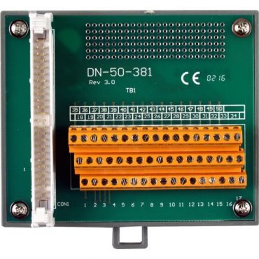 I/O Connector Block with DIN-Rail Mounting and 50-pin Header