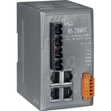 Unmanaged 4-Port Industrial 10/100 Base-T(X) with Dual 100 Base-FX Switch