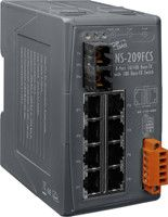 Unmanaged 8-Port Industrial 10/100 Base-T to 100 Base-FX Fiber Optics Converter