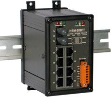 Unmanaged 8-Port Industrial 10/100 Base-T with 100 Base-FX Fiber Switch