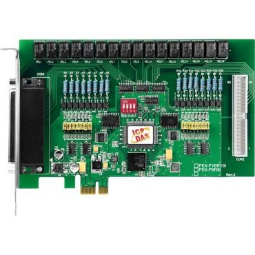 PCI Express X 1, 16-channel Isolated Digital Input, 16-channel Relay Output Includes one CA-4037W cable and two CA-4002 D-Sub connectors