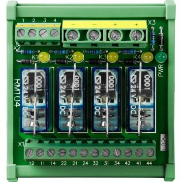 4-channel DIN-Rail mounting power relay module, 1 form C
