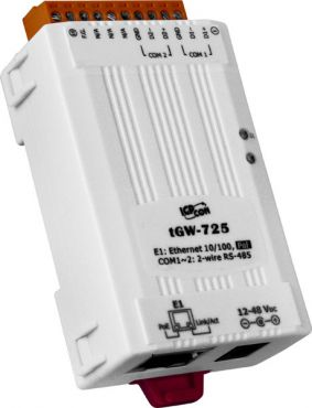 ICPDAS tGW-725  Tiny Modbus/TCP to RTU/ASCII gateway with PoE and 2 RS-485 Ports